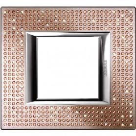 Marco embellecedor de 1 elemento Bticino Axolute HA4802SWLSwarovski light Peach