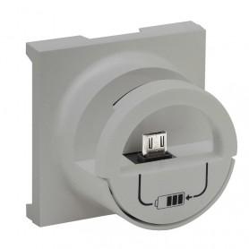 Tapa Dock Station con base micro USB tipo A Legrand 864325serie Niloe Step Aluminio