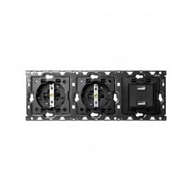 Kit Back 3 elementosSIMON 100 con 2 bases de enchufe schuko y 1 cargador 2XUSB 2.1A10010308-039