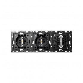 Kit Back 3 elementosSIMON 100 con 2 bases de enchufe schuko y 2 conmutadores pulsantes10010310-039