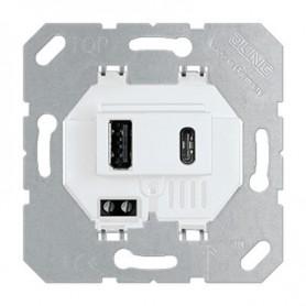 Toma cargador USB doble Jung USB15CAWW serie LS990 Blanco Alpino