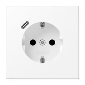 Base enchufe Schuko con cargador USBJung LS1520-18 CWWM serie LS990 Blanco Alpino Mate