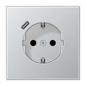 Base enchufe Schuko con cargador USBJung AL1520-18 C-L serie LS990 Aluminio