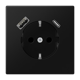 Base enchufe Schuko con cargador USB-A Y USB-CJung LS1520-15CASWM serie LS990 NegroMate