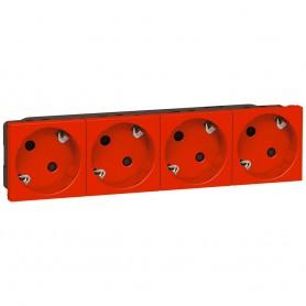 Enchufe Schuko doble 4x2P+TT Legrand 077274 Mosaic Rojo