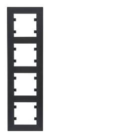 Marco 4 elementos vertical Hager Lumina Intense WL5643 color Negro