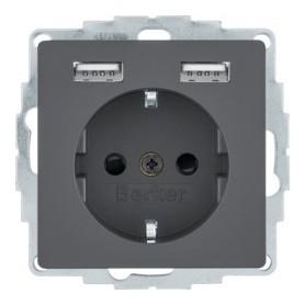 Enchufe Schuko 2p+T 16A con 2 USBBerker by Hager 48036086Antracita