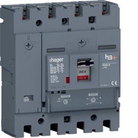 Interruptor automático Hager H3+ HNT201DR 200A 4polos P250 40kA