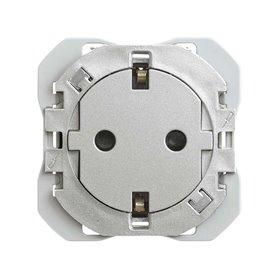 Base de enchufe cleanSimon 20000434-093 2p+TT 16A Simon 270 Aluminio2modulos