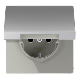 Base enchufe Schuko con tapaJung AL1521KIKL serie LS990 Aluminio