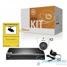 Kit CCTV Golmar basico KIT-2DHVR1P con DVR  y dos domo PIR