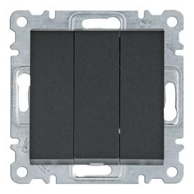 Interruptor triple Hager Lumina Intense WL0073 color Negro