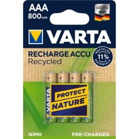 Pila recargable LR03 AAA 800mAh Varta Blister 4 pilas Recycled