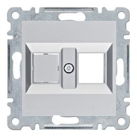 Soporte Doble para conector Keystone Hager Lumina Intense WL2022 color Plata
